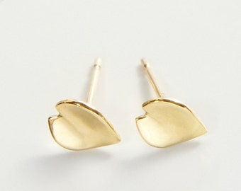 18k Solid Gold Studs, Cherry Blossom Sakura Jewelry, Yellow Gold, Rose Gold