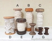 Wooden Spool Bobbin Lace/Ribbon Organizer-Japanese Vintage Look Natural Feeling Retro Wooden Bobbins Spool,Choose Pattern(Lace NOT Included)