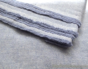 Solid Fabric, Retro Natural Simple Denim Blue-Japanese Dyed Linen Cotton Blended Fabric(1/2 Yard)