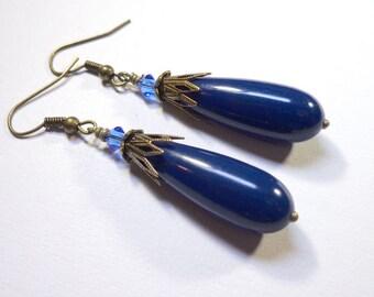 Jewelry Earrings,Swarovski Austrian Crystal, Vintage Lucite Teardrop Beads, Antique Brass
