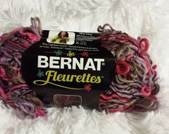 Yarn *  Bernat Fleurettes Yarn * 100 g / 3.5 * Honeysuckle *  Loop Yarn * Low, Low Shipping! * Berry Pink * Pale Eggplant