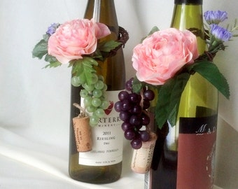 AmoreBride bridal shower favors Wine Bottle Topper set of 2 pink peach Wedding Centerpieces table decor accessories vineyard reception