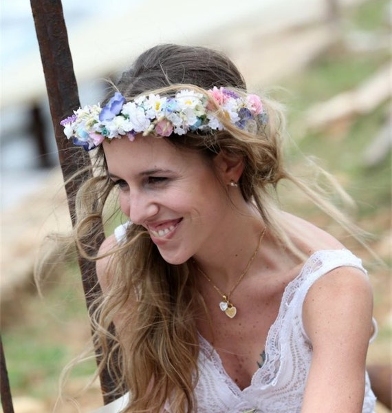 Boho Bridal Hairstyles For Carefree Bride: Boho Bridal Flower Crown Carefree Beach Hair Wreath By Michele
