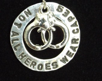 Not all heroes wear capes Police necklace, Police Officer Wife Necklace, Police Hero Necklace, police wife gift, Wife of Police necklace