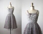 50s dress / chiffon dress / 1950s dress