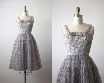 50s dress / chiffon dress / 1950s dress