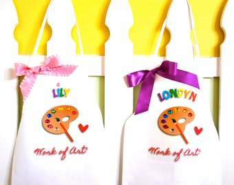 Match Your Easel Set of TWO Upgraded Art Party Painting Pottery Personalized Smock Palette adorned with colorful Gems, Heart, and Phrase