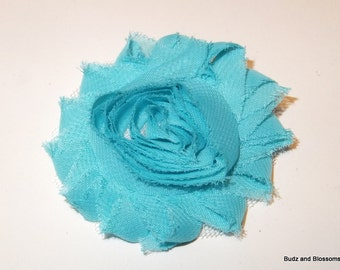 Simple Aqua Turquoise Shabby Chic Rosette Hair Flower Hair Clip - Shabby Chic Hair Clip -Toddler Hair Clip - Girls bows - no slip
