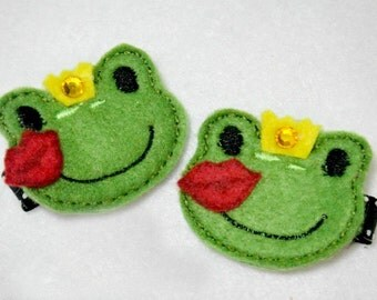 Frog Prince Valentine Love Felt  Hair Clip