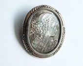 Art Deco style Sterling silver and Stone Brooch