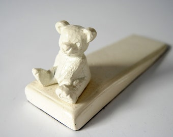 Hand painted Iron White Bear Doorstop