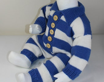 Instant Digital File PDF Download - Baby Big Stripe Collar Romper Suit knitting pattern