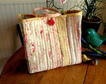 """Large """"Jelly Roll"""" Strip Quilted Pastel Colored Tote Bag"""
