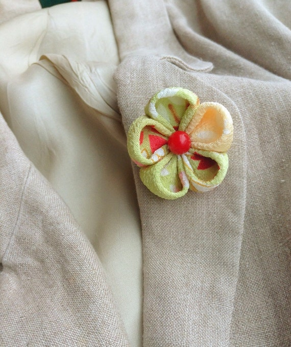 Lapel Pin Flower: Kanzashi Apple Green Includes Shipping to US