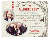 Valentine's Day Photography Mini Session Marketing Board Template INSTANT DOWNLOAD