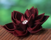 Kanzashi brooch, burgundy, maroon, dark red, silk, fabric flower pin, wedding, boutonniere, groom, usher, groomsmen, UK, handmade