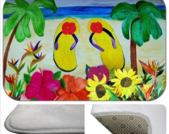 Flowers and Flip flops bathmat from my art