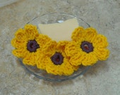 Crochet Yellow Flower Face Scrubber with Purple Center Made with Cotton Yarn