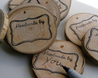 200 Bulk Product Label Packageing Tags Price Or Gift Tag Handmade By Stamped On Wood Round 2+ inch