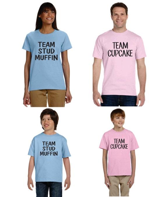 Gender reveal t shirt ideas set of 4 shirts team stud muffin for Team t shirt ideas