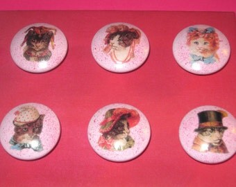 VICTORIAN CATS in HATS - Hand Painted Knobs - Set of 6 - Great for Girl's Room, Nursery