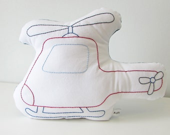 helicopter shaped pillow, helicopter cushion, plush helicopter, vehicle pillow
