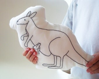 kangaroo shaped pillow, kangaroo cushion, mother and baby kangaroo, plush kangaroo