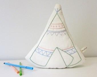 organic pillow, teepee pillow, teepee cushion, plush teepee, boho decor, tribal decor