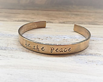 Be The Peace Brass Message Cuff