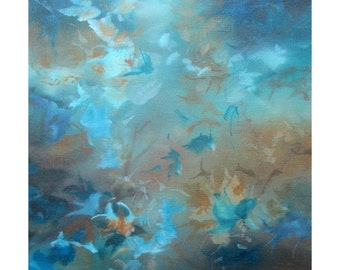 Original Expressionism Abstract Painting Modern art ebsq blue turquoise gold indigo. Immersion X