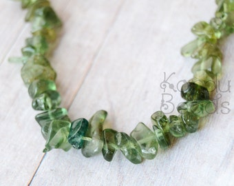 "Small Green Apatite Small Chip Beads GRADE A  6-8mm  15""  strand"