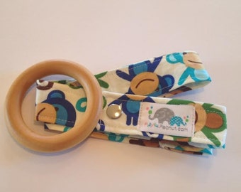 Organic Teether | Baby Teether | Maple Teether and Toy Strap COMBO: Monkey Royal