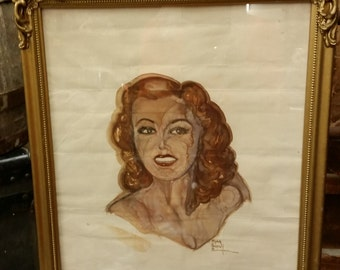 SALE -  Vintage Signed Watercolor Painting Of Beautiful Lady In Art Nouveau Frame from Rustysecrets