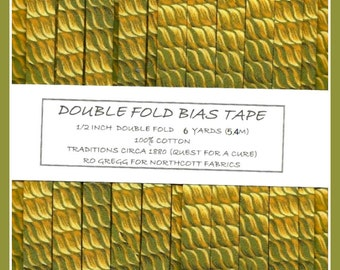 Handmade Double Fold Bias Tape - 1880 Traditions Pattern - 6 Yards