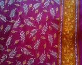 Pink Indian Cotton Saree Fabric Floral Print, Sari Fabric With Border Design, Indian Fabric, Handprinted Soft Cotton Fabric By The Yards
