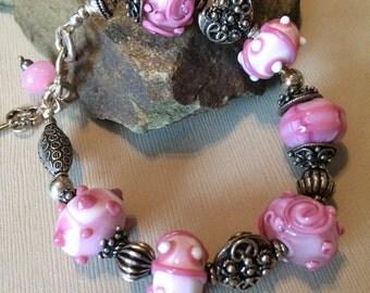 Lampwork Bead Bracelet-Perfectly Pink