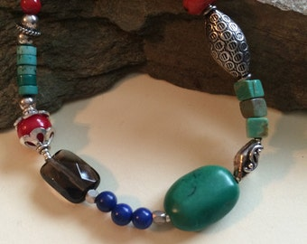 Multi Stone and Sterling Silver Bracelet