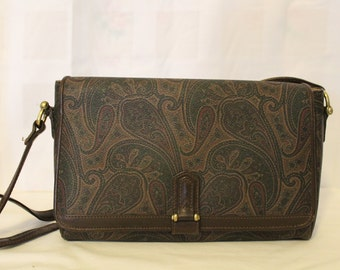 Vintage LIZ CLAIBORNE Paisley Shoulder or Crossbody Bag, Leather Trim, Like New