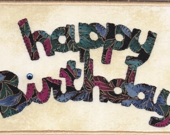 Happy Birthday Quilted Fabric Postcard