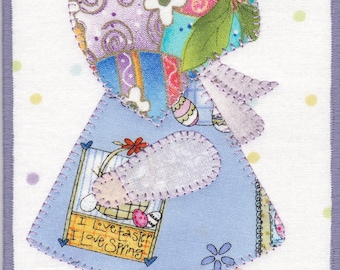 Easter Sunbonnet  Sue Quilted Fabric Postcard