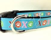 Valentine Dog Collar, XOXO, 1 inch wide, adjustable, quick release, metal buckle, chain, martingale, hybrid, nylon