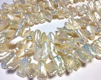 Biwa stick pearls creamy white color 7 inch strand petite