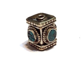 LARGE Hand made bead with turquoise inlays