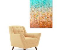 Tropical Dreams Abstract Painting Art Print instant digital download DIY reproduction turquoise aqua sand brown ombre Modern Home Decor