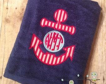Monogrammed Beach Towel - Anchor Monogram Applique - Personalized