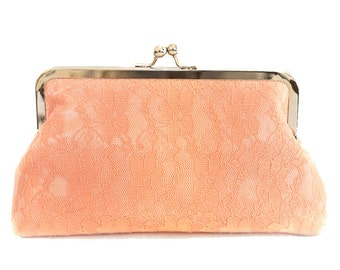 Peach Clutch Purse Lace Satin Pastel Wedding Large Size Bag Brdal Summer Ready to Ship