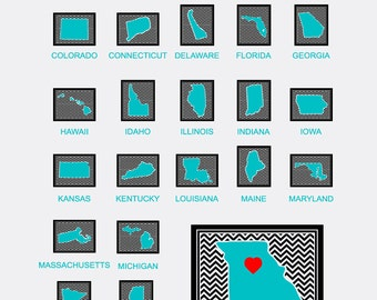 50 States Framed Chevron SVG Files - 50 States Vector Files for Cricut and Silhouette - Cuttable SVG Files - Ai Eps Gsd Svg