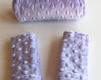 Baby Car Seat Strap and Handle Covers // Fits Any Model // Lavender Minky // OR Choose Your Own Fabrics and Minky Colors