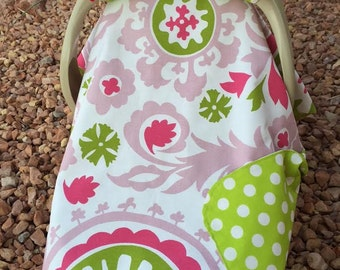 Baby Car Seat Cover / Damask in Pink and Lime and Lime Polka Dot / Bows Incl / Baby Gift / Ready To Ship / Baby Girl /
