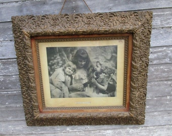 Large Antique Victorian Wood Ornate Gold Gesso Frame 38 x 34 Mother and Daughers Titled Happy Days